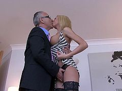Young blonde Christine Love masturbates her cunt in front of Jim Slip
