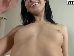 Tender gal with small perky tits Yasmin grabs her dildo toy and starts steaming hardcore pussy rubbi