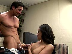 Be part of this clip where a brunette cougar, with big jugs and a shaved cunt, while she goes hardcore in an office sitting on a chair.