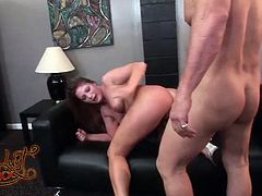 Well endowed dude Evan fucks ruthlessly hot tempered blonde hoochie. She hops on his big dong reverse and moans with pleasure. Then he penetrates her juicy twat missionary style.