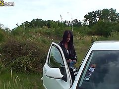 Sexy brunette girl Nessa Devil got a dick in her tight asshole at the open air