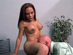 Make sure you take a really good look at Nody Nadi as this tranny will have you mistaking her for an ebony babe. Watch her getting nailed by a guy after having her cock sucked.