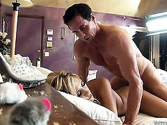 Peter North gets turned on by Tasha Reign and then drills her anal hole