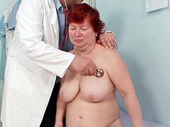 Her fatty cunt feels great while horny doc plays with his toys inside