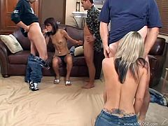 Take a look at this hot scene where these slutty teens are gangbanged by big cocks that leave them covered by semen.