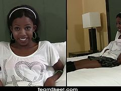 Teeny Black brings you a hell of a free porn video where you can see how the naughty and wild ebony teen Nevaeh enjoys a hard rod of white meat til she cums very hard.