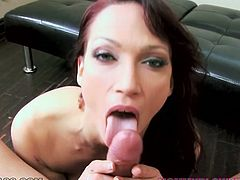 Insatiable red haired slut Nicki Hunter loves sucking big cocks. She stands on her knees and gives her boyfriend amazing blowjob and titjob.