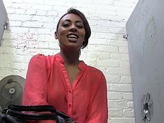 Pretty brown-haired girl Cherry Hilson is proud of her big fake boobs and she likes to demonstrate them for the camera. She exposes her breasts for the cam and rubs her nipples ardently.