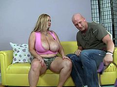 Samantha is a sexy BBW blonde with immense natural breasts and a great need for sex. Watch her juggs being oiled up before she sucks on this guy's large cock until she's fucked silly.