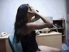 Costa Rica Girl Play naked in the Office 2