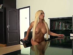 Gorgeous and glamorous blonde babe Krissy Style teasing and seducing her boss Norby