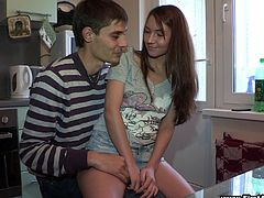 Marina is a slutty teen. She loves sex but this is the first time she has anal sex. Marina gives a blowjob to her boyfriend in a kitchen. Then the girl gets her tight ass fingered and fucked.