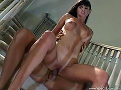 Make sure you have a look at this hardcore scene where the horny brunette Brooke Adams is fucked on a slight of stairs until her mouth's filled by semen.