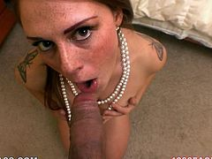 Torn slut Scarlett Wild gives stout blowjob after getting her snatch finger fucked