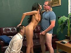 Long haired brunette babe Nikki Daniels with model quality forms gets two modest dicks