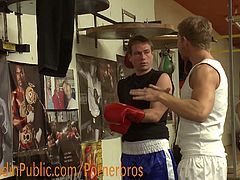 The guys take turns giving the loudmouth a few punches to his ripped body and make him pick up all his weights while he's in bondage. After having twenty pounds of weights attached to his balls while crawling across the floor, the guys take turns fucking each of his holes and make him begging for cum.Enjoy!