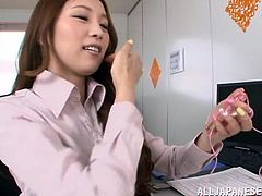 Amazingly hot Asami Ogawa gets bored in an office. She is alone there, so Asami takes off her panties and lifts a skirt up. This lovely Asian girl toys her wet pussy with a vibrator and fondles tits.