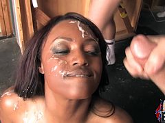 Jada Fire is on fire as she gets on her knees and sucks every white cock in the room before getting splattered with ball batter.