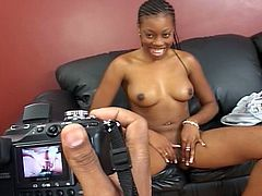 This black petite lady gets first time wild hot sex from bald black man with huge cock.  She enjoys being fucked up!