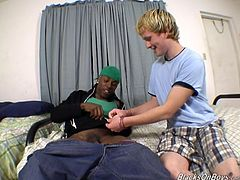 What are you waiting for? Watch a black dude, with a nice ass wearing jeans, while he goes hardcore with a blonde innocent guy until he cums.