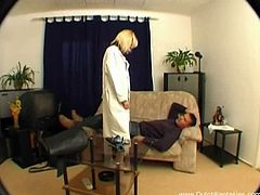 Dutch blonde doctor came to the rescue. Wearing her white stockings she remedied her patient by letting him drill her shaved wet snatch and filling her mouth with hot jizz.