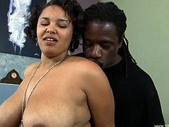 Have fun with this amazing interracial scene where this sexy babe's fucked by a black monsterr cock after showing off her tits and great ass.