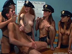 Have fun with this hot pegging scene as these smoking hot officers take turns fucking this guy with a strapon.
