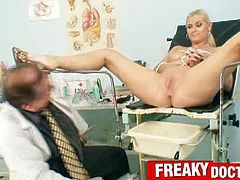 Busty big tits porn star Alexa Bold getting kinky nasty gyno speculum exam of her pussy by old doctor. He also bondages her big tits while Alexa sitting on gyno chair.
