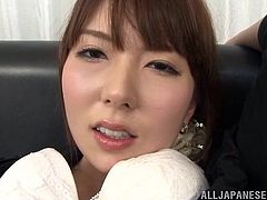 Kinky Japanese chick Chika Kitano wearing pantyhose and glasses is playing dirty games indoors. She fingers her cunt ardently and then rubs it with her toy.