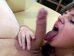Pretty fair-haired chick Gina Gerson is having fun with some dude indoors. She kneels in fronf of the man and sucks his weiner till it explodes with jizz.