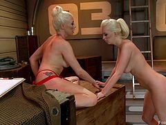 Cherry must lick her mistresses feet and worship them, because she is under her control. The cute blonde babe get excited, by the thought of serving goddess Lorelei and the dominating mistress rewards her slave, with a nasty foot fucking. Suck those toes, you dirty slave!