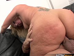 Flower Tucci is a blonde babe with a huge ass. She gets drilled after she gives a nice, deep head followed by a rimjob. She has her ass hole licked as well.