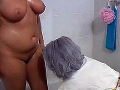 Chubby granny invite her milf friend to take a bath together. They got horny they ending up all their body getting wet and cuddling their privates in the bathtub.