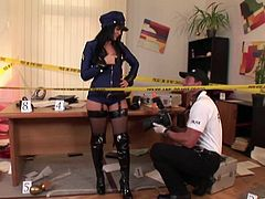 Take a look at this hardcore scene where the sexy officer Madison Parker is fucked by one of her coworkers right on a crime scene.