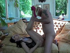 Amazing brunette Abbie Cat gives a terrific blowjob to some man. The stud favours the babe with cunnilingus and fucks her pussy doggy style and in cowgirl position.