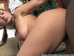 This lovely blonde girl wants fuck so badly that fucks in front of her daddy. She sucks a big black cock and also gets her tight pussy drilled hard. She feels so good that her nipples get bigger.