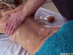 Brazzers Network brings you an exciting free porn video where you can see how the horny blonde slut Erica Fontes gets massaged and assfucked hard into a huge orgasm by Bill Bailey.