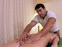 Claire goes in for a nice massage. She says her ass needs some attention, so the masseur oils up and get to work, rubbing her down. Once he slides his hands on her pussy, he notices, that she is super wet. Of course she deserves to be vigorously fingered. Now she wants his cock down her throat.