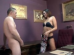 This sexy girls loves playing with nuts and dick. She slightly squeezes his balls and then tease shim with her black lingerie. Enjoy watching exciting sex tube video produced by White Ghetto porn site.