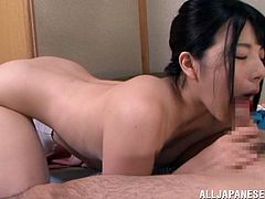 A gorgeous Japanese babe sucks on a hard cock and then gets it shoved balls deep into her fuckin' pink ass bushy pussy. Check it out!