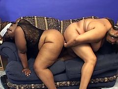 Take a nice look at these lesbian BBW, with giant jugs wearing cute panties, while they touch each other and use big dildos inside their pussies.