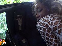 Ally is a slim black girl. She and her white boyfriend stop the car in the forest for a quick fuck. She blows his cock and then she rides it while he films her.