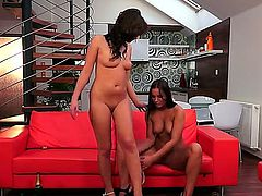 Brunette sweet-looking girls Kari Sweets and Tess Lyndon are sluts inside. Today they are becoming naked, caressing tenderly and then pushing bottle from wine into vaginas.