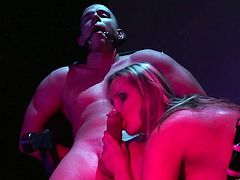 Get a load of this BDSM clip where the sexy blonde Mandy Bright sucks on this guy's big cock until he cums in her mouth after torturing him.
