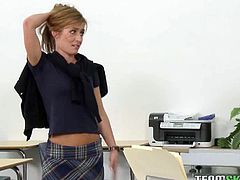 Sexy college babe Sheena Shaw is ready for some hardcore action with her horny teacher. Next dhe is on her knees to blow his rod and takes it deep into her cunt.