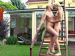 Have a look at what I have in my garden! They've grown big and healthy, and now they want to get naked, and show us not only their superb bodies, but how lustfully they are. These two blonde babes are fucking superb and the way they kiss and touch their cunts can lead in only one direction. Enjoy!