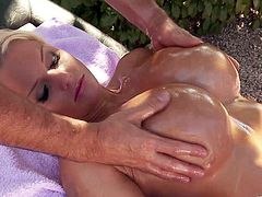 Press play on this heart stopping solo scene and take a look at Jordan Pryce's big natural tits in this great scene where she oils them up.