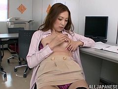 Horny Japanese milf Asami Ogawa is playing dirty games at her work place. She strokes her hot body and fingers her twat and then uses a dildo to drill her snatch.