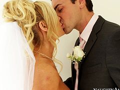 Kinky bride Tasha Reign goes naughty at her wedding. She kneels down taking hard dong in her mouth. Tasha gives awesome blowjob before getting her pussy licked properly.