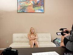 This cute blonde babe is interviewed about her past sexual experiences. She has to be nude in front of the camera to determine if she should make a good porn star. She starts by sucking some cock, and then she moves into 69 position.